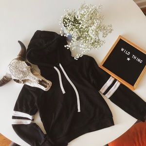 Varsity striped cropped hoody comfy cozy casual